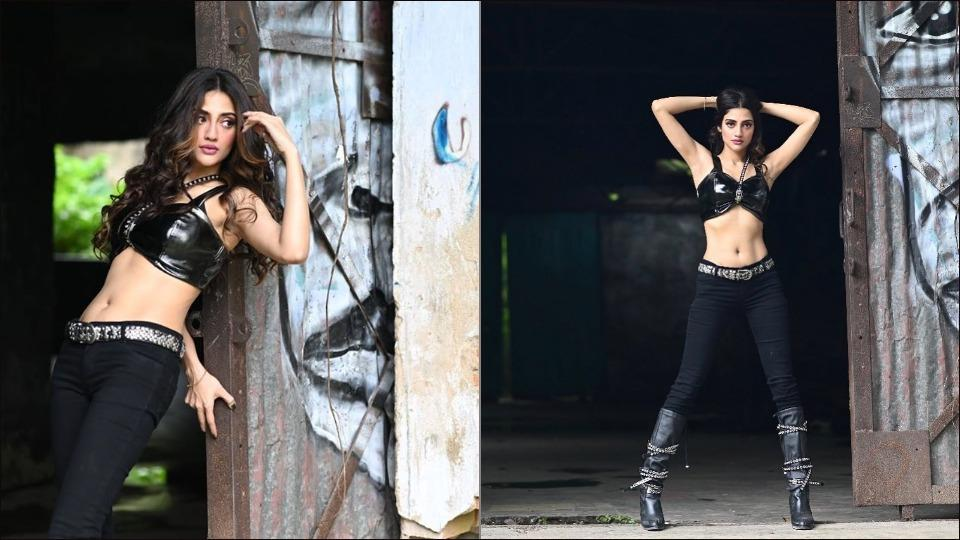 TMC MP Nusrat Jahan turns up the heat in faux leather bralette and all black biker look