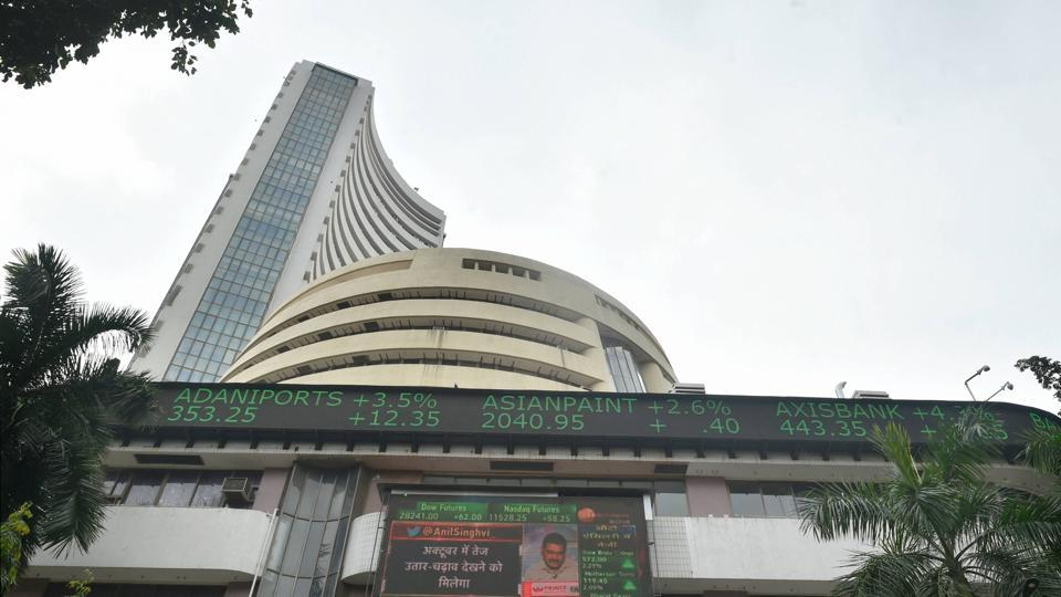 A screen on the facade of BSE building displays stock prices.