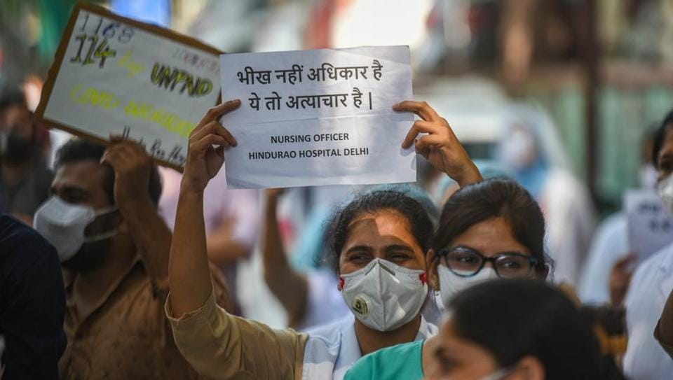 Resident doctors and nurses of Hindu Rao Hospital  at a protest earlier this month  against the Delhi Government and MCD for non-payment of salaries.