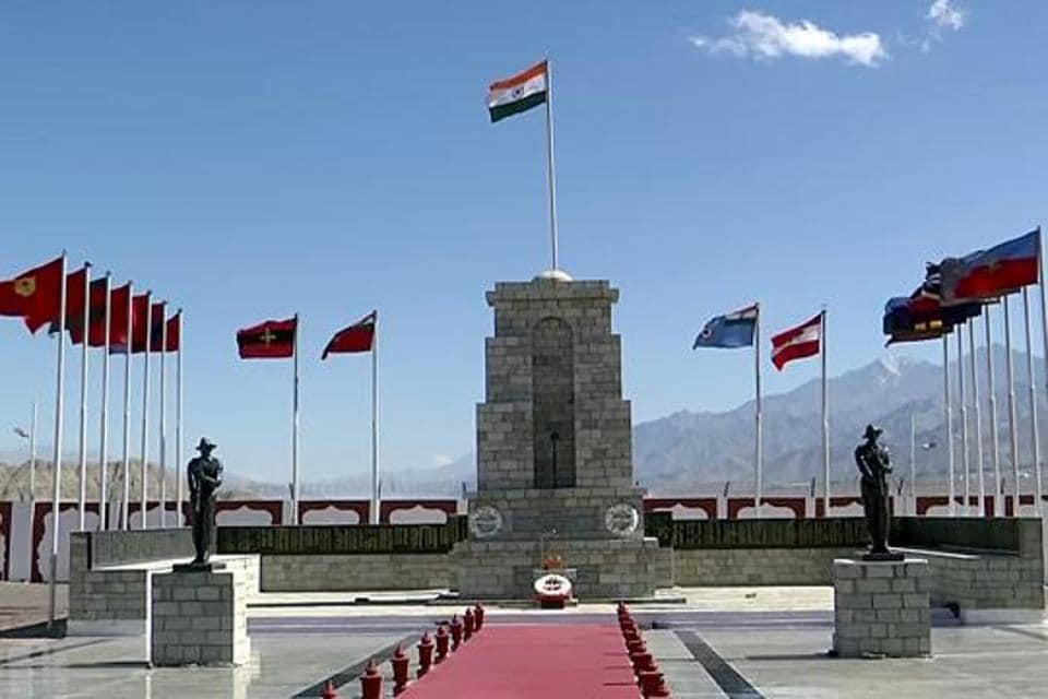 The national flag is seen at the War Memorial in Leh in this file photo.  The war memorial was shown to be in People's Republic of China during a live broadcast on Twitter.