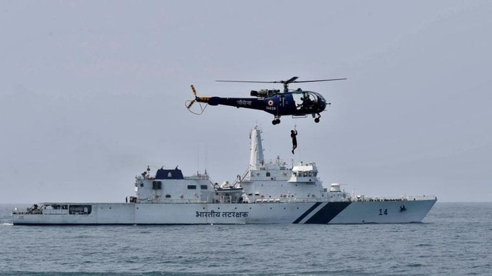 In picture - Indian Navy's Chetak helicopter demonstrates a rescue operation. Representational Image.
