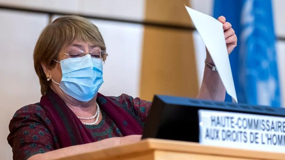 United Nations' High Commissioner for Human Rights Michelle Bachelet holds a document before her speech during the opening of 45th session of the Human Rights Council, at the European UN headquarters in Geneva, Switzerland.