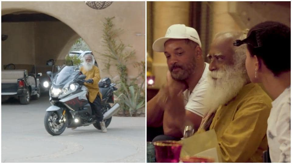 Will Smith with Sadhguru and Willow in America.