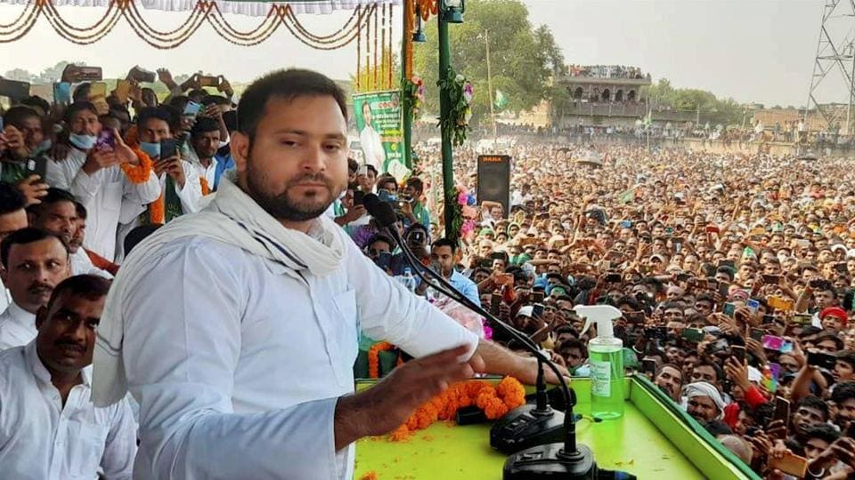 RJD leader Tejashwi Yadav addresses a campaign rally ahead of Bihar Assembly polls, in Aurangabad on Tuesday.
