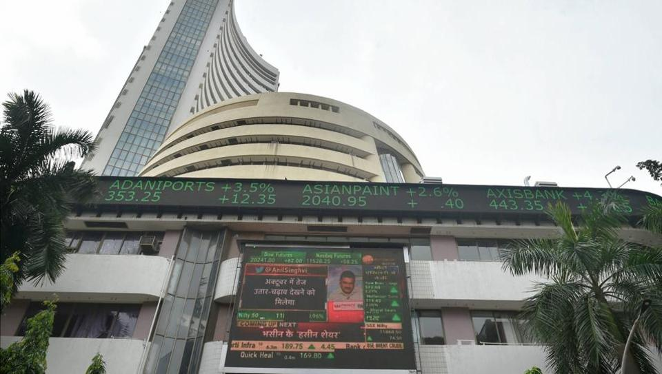 A screen on the facade of BSE building displays stock prices in Mumbai (PTI Photo/Mitesh Bhuvad)