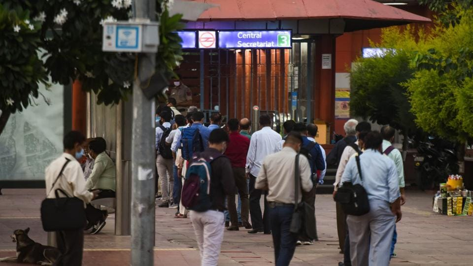 The police personnel at metro stations have been conducting a drive to check the violation of Covid-19 guidelines. Passengers who were not wearing masks or maintaining social distancing were fined, officials said.