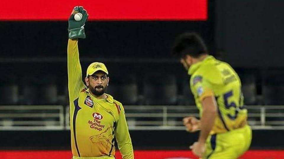 Chennai Super Kings skipper MS Dhoni during an IPL 2020 cricket match.