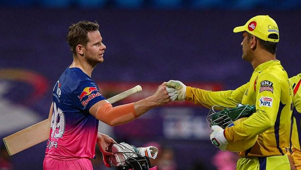 Chennai Super Kings captain MS Dhoni and Rajasthan Royals captain Steve Smith after a match during the Indian Premier League 2020, at Sheikh Zayed Stadium, in Abu Dhabi.