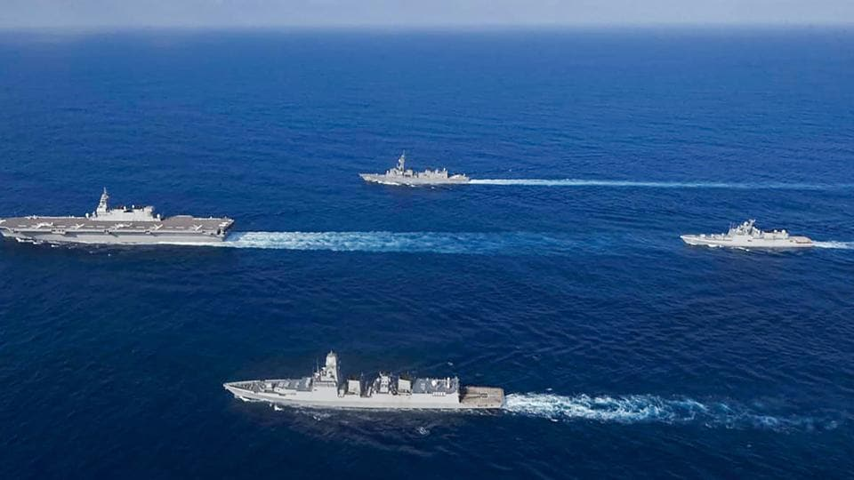 TWITTER IMAGE POSTED BY @indiannavy | Arabian Sea: Indian Navy and JMSDF ships during joint maritime exercise-JIMEX 2020, in the Arabian Sea. Indian and Japanese navies completed 3 days of highly successful Exercises led by CCF2 & FOCWF. (PTI Photo) (PTI29-09-2020_000022A)