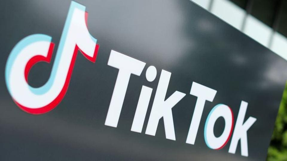 The TikTok logo is seen outside the company's US head office in Culver City, California, US.