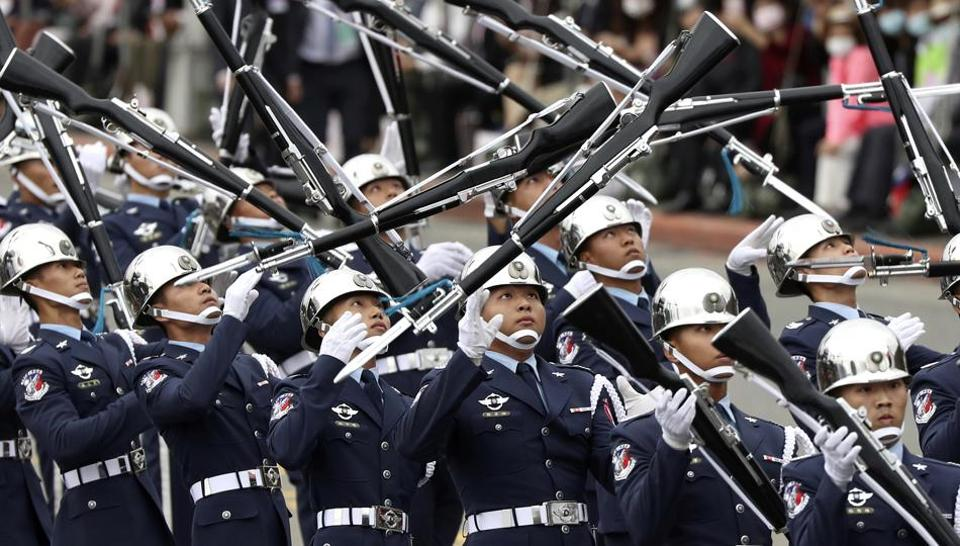 A military honour guard performs during the National Day celebrations in Taipei, Taiwan, on October 10.
