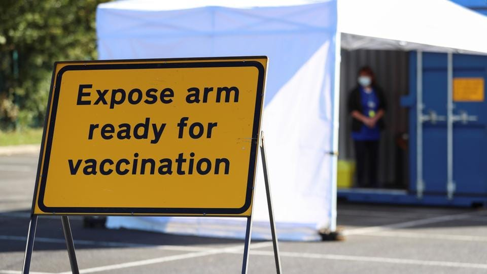 In picture - A sign is pictured at the drive-thru flu vaccination centre in Britain. Representational image.