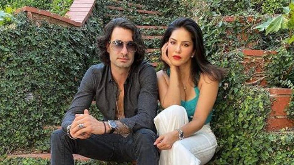 Sunny Leone poses with husband Daniel Weber.