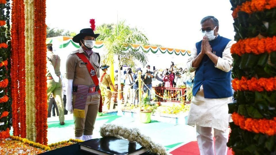 Uttarakhand chief minister Trivendra Singh Rawat pays tribute to martyrs in Dehradun on Wednesday.
