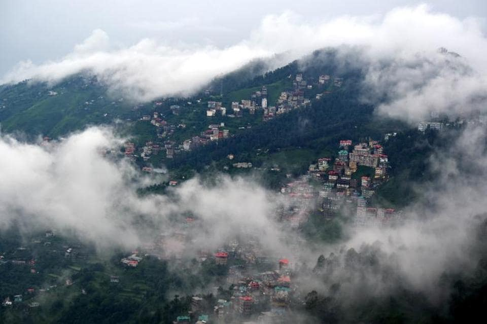 The capital of Himachal Pradesh, Shimla, nestled in the clouds.