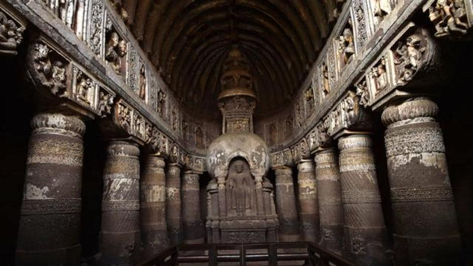 The Ajanta Caves, a Unesco world heritage site, is located 5km northeast of Aurangabad in Maharashtra.