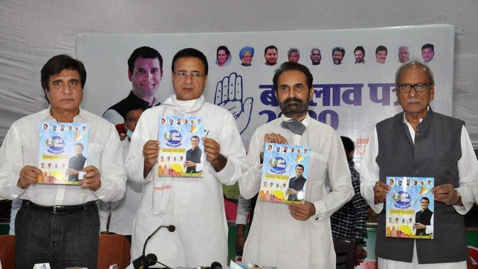 (From left to right) Congress star campaigner Raj Babbar, president of Bihar Election Management Samiti Randeep Singh Surjewala, All India Congress Committee Bihar in-charge Shaktisinh Goyal, and former governor Nikhil Kumar release party manifesto in Patna on Wednesday.