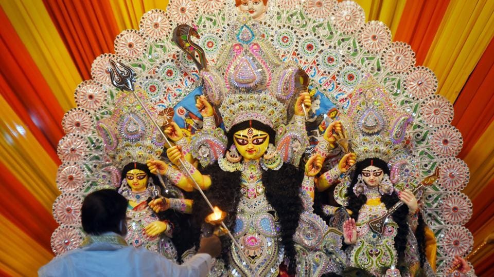 A priest offers prayers during the Durga Puja festival. (representative image)