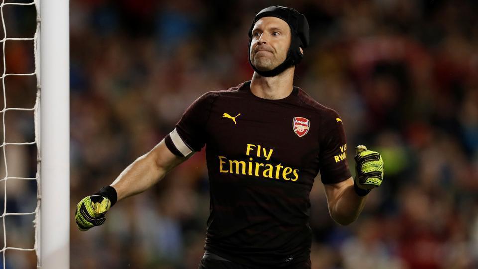 Arsenal's Petr Cech celebrates saving a penalty taken by Chelsea's Ruben Loftus-Cheek during the penalty shootout.