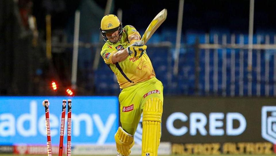 Chennai Super Kings (CSK) batsman Shane Watson bowled out during the Indian Premier League (IPL) T20 cricket match against Delhi Capitals (DC), at the Sharjah Cricket Stadium.
