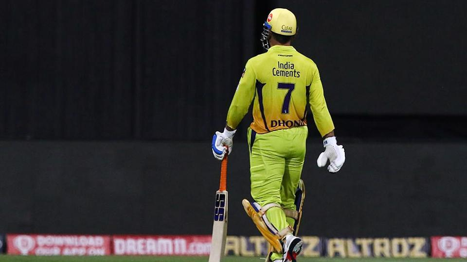 Chennai Super Kings captain MS Dhoni walks back to the pavilion after getting dismissed during the Indian Premier League 2020 cricket match against Rajasthan Royals.