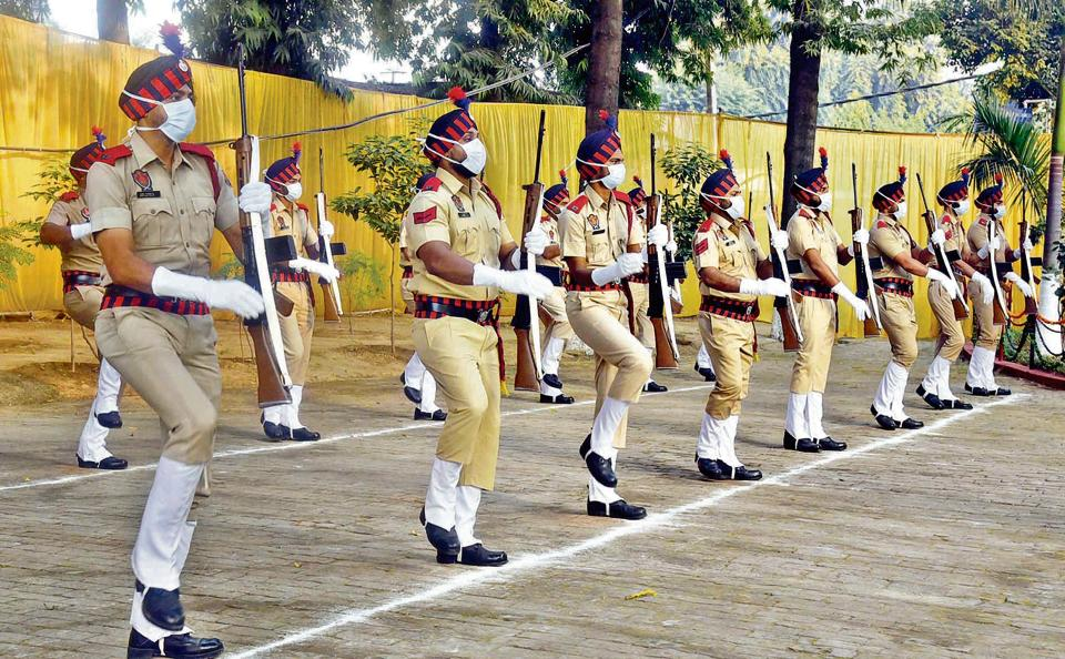 Personnel during a parade organised on the occasion of Police Commemoration Day at Police Lines in Ludhiana on Wednesday.