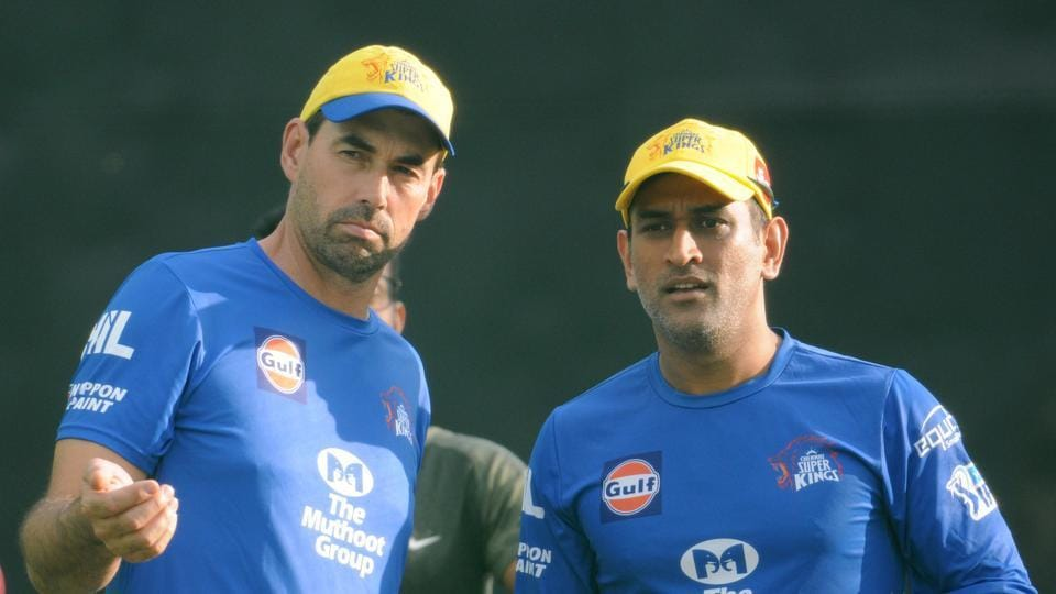 Chennai Super Kings Captain Mahendra Singh Dhoni and Coach Stephen Fleming during practice session at IS Bindra Stadium in Mohali.