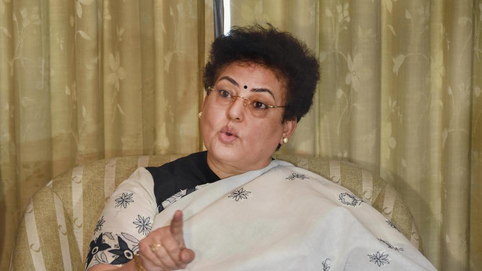National Commission for Women (NCW) Chairperson Rekha Sharma addresses the media in Mumbai.