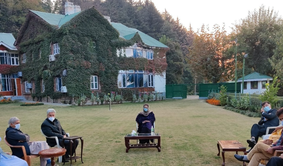 PDPchief Mehbooa Mufti hold the first meeting of her party after her release form a 14-month detention.