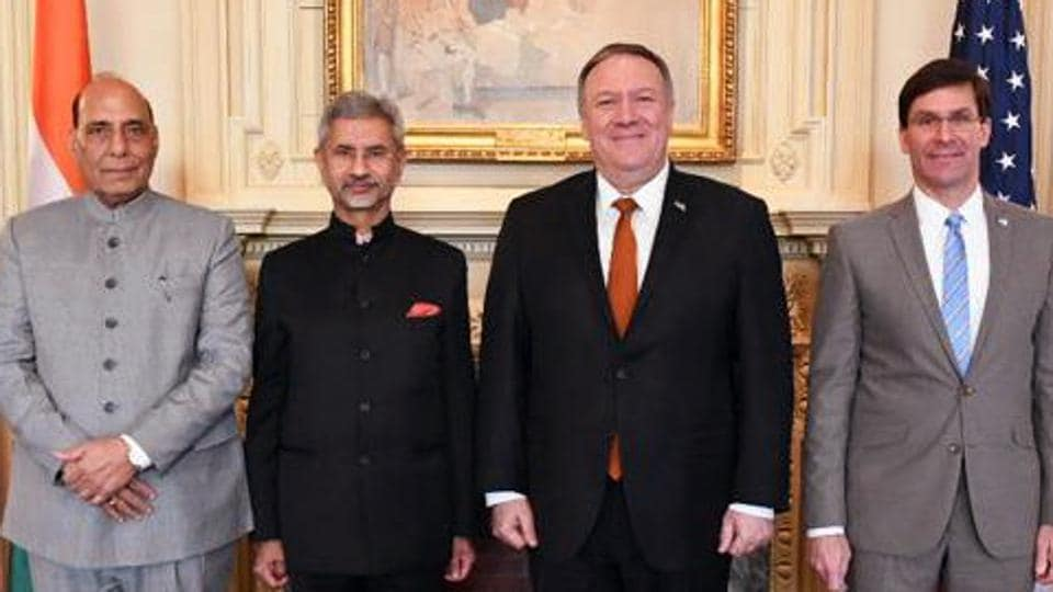 India and the US are expected to announce the pact during the visit next week of US secretary of state Mike Pompeo and defense secretary Mark Esper for talks in New Delhi with Indian counterparts Subrahmanyam Jaishankar and Rajnath Singh.