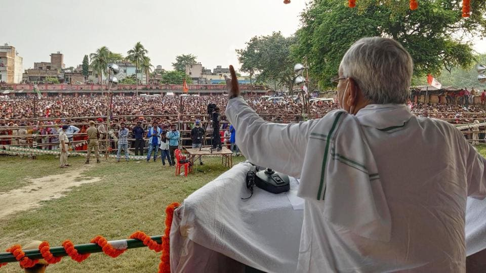 Bihar Chief Minister Nitish Kumar addresses an election campaign rally in Hasanpur  on Thursday.