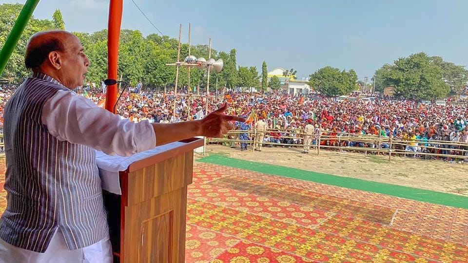 Defence minister Rajnath Singh addresses a gathering during an election meeting, at Kahalgaon in Bhagalpur district on Wednesday.