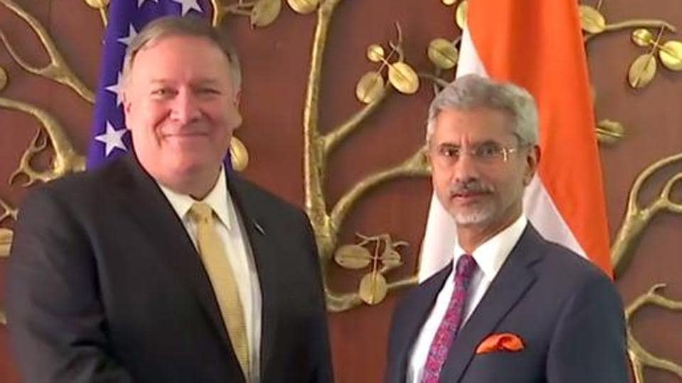 External Affairs Minister S Jaishankar meets United States secretary of state Mike Pompeo in New Delhi.