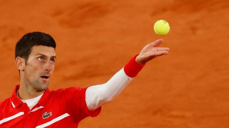 Serbia's Novak Djokovic in action during the final of 2020 French Open against Spain's Rafael Nadal.