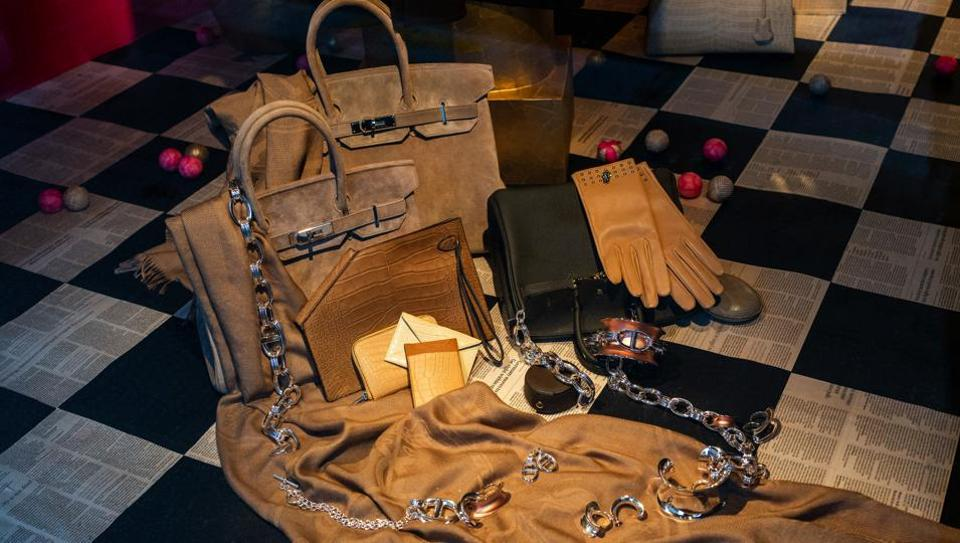 A pair of Birkin bags in a Hermes International luxury good boutique in Paris, France, on Wednesday, Oct. 21, 2020. Hermes report third quarter earnings on Oct. 22.