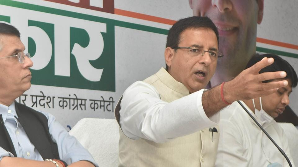 Congress spokesperson Randeep Singh Surjewala and party leaders at a press conference in Patna, Bihar on October 22, 2020.