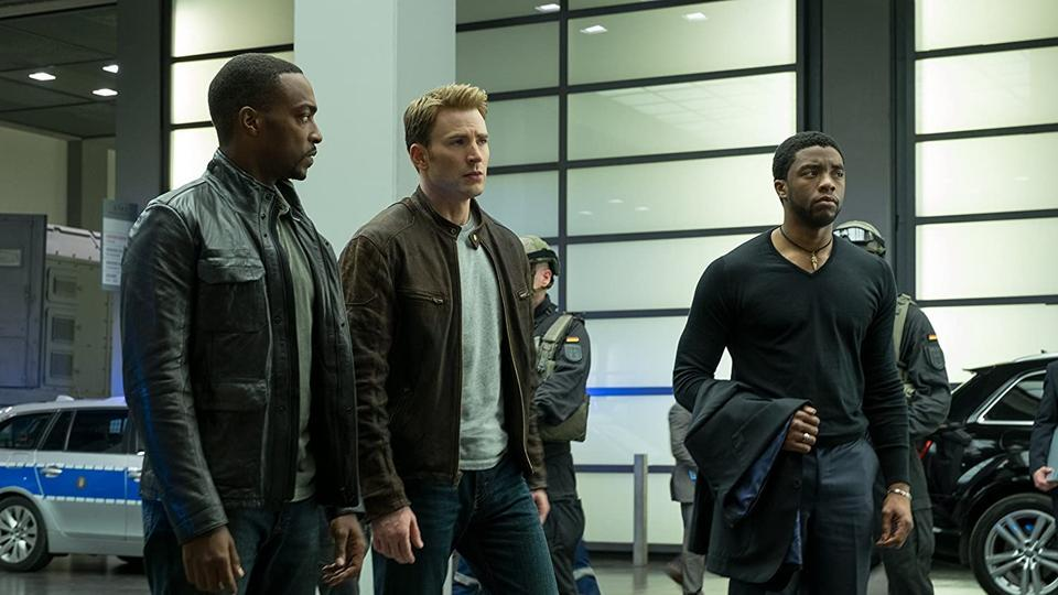 Anthony Mackie, Chris Evans and Chadwick Boseman in a still from Captain America: Civil War.