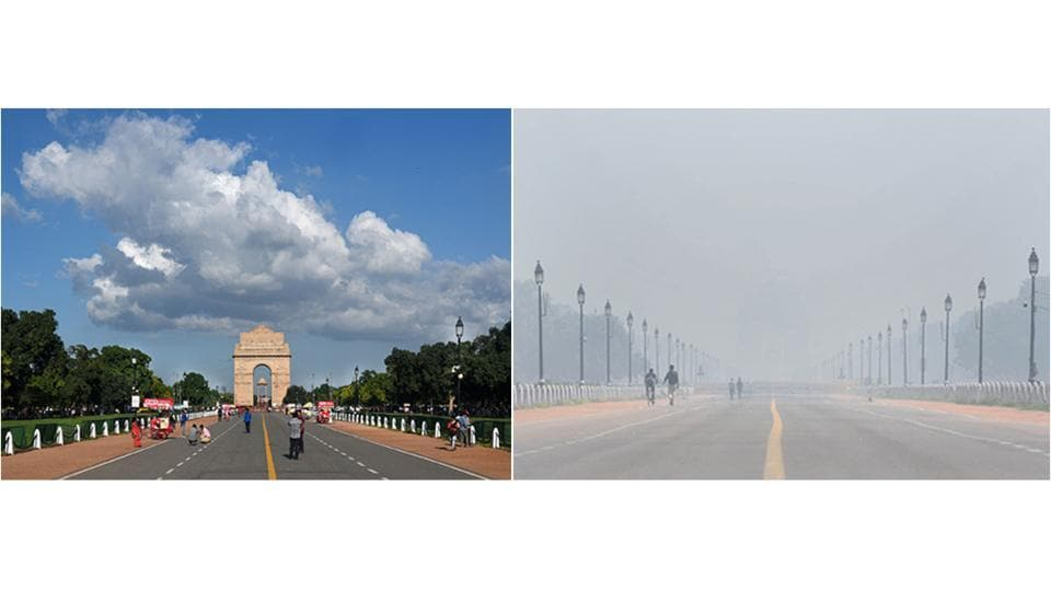 """A comparative view of India Gate on August 22 (left) and October 22 (right) highlighting Delhi's annual deterioration of air quality closer to winter. Delhi's air quality slipped to the far end of the """"very poor"""" zone on October 23, raising a belated alarm among the city's pollution monitoring and enforcement agencies. (Biplov Bhuyan , Vipin Kumar / HTPhoto )"""