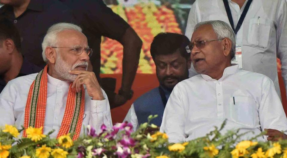 Prime Minister Narendra Modi and Bihar chief minister Nitish Kumar during an election rally, Bhagalpur, Bihar, April 11, 2019.