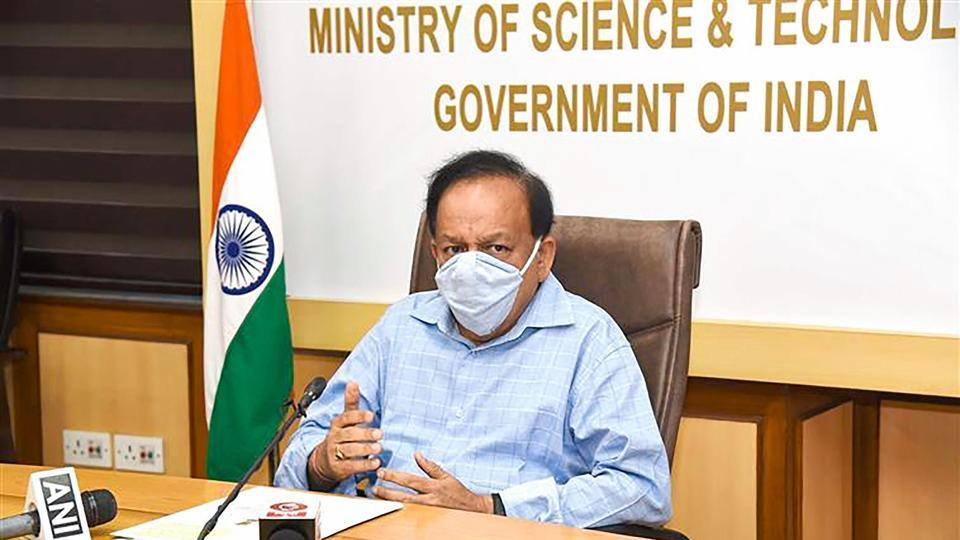 Union science minister Harsh Vardhan virtually attends a meeting.