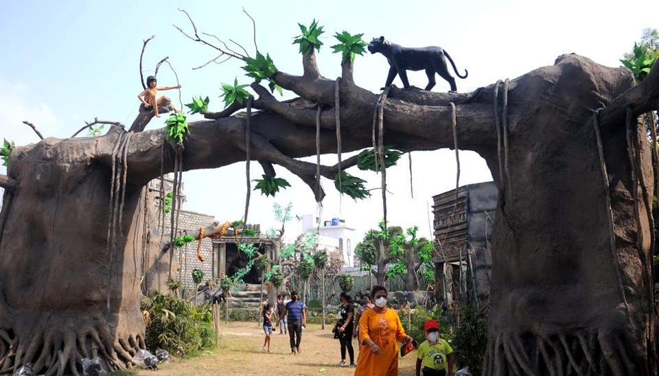 A puja pandal on the theme of The Jungle Book in Kolkata.