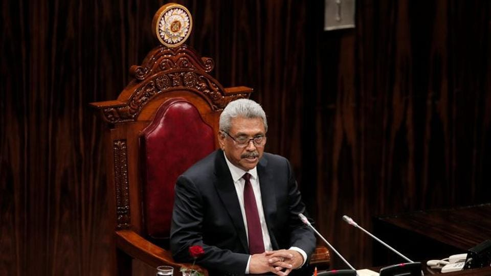 In picture - President Gotabaya Rajapaksa presents the new government's policy statement at the Parliament in Colombo, Sri Lanka.