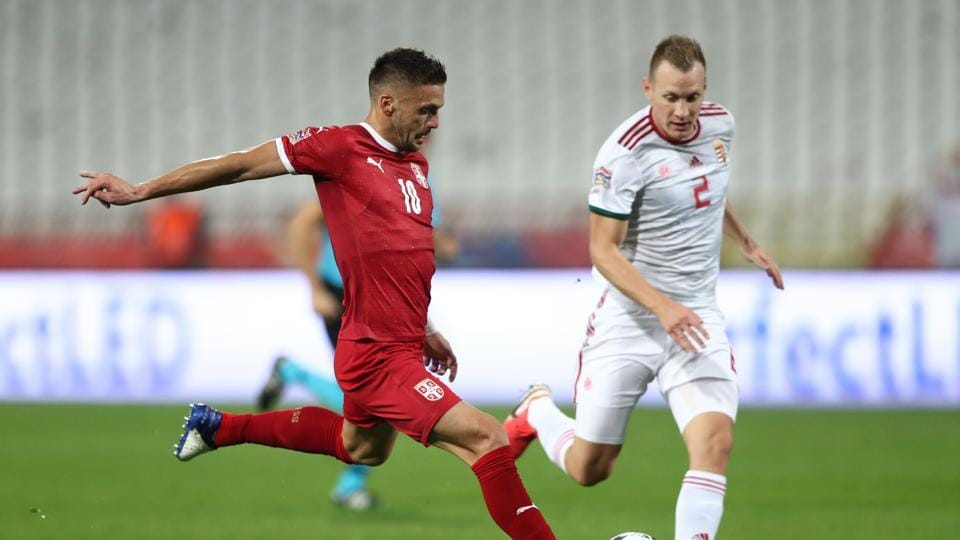 Soccer Football - UEFA Nations League - League B - Group 3 - Serbia v Hungary - Rajko Mitic Stadium, Belgrade, Serbia - October 11, 2020 Serbia's Luka Jovic in action with Hungary's Adam Lang REUTERS/Marko Djurica