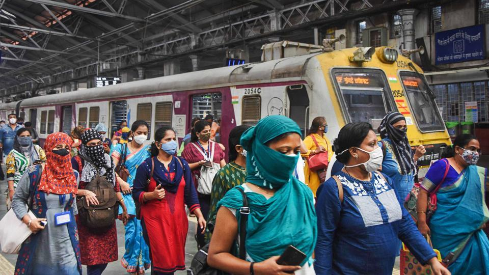 Women passengers exit a suburban train after authorities extended services to women during non-peak hours under 'Mission Begin Again' at CSMT in Mumbai on October 21.The Brihanmumbai Municipal Corporation (BMC) on October 21 highlighted a silver lining in the megacity's Covid-19 situation and said that the doubling rate for cases had crossed the 100-day mark for the first time since the outbreak of the coronavirus. (PTI)