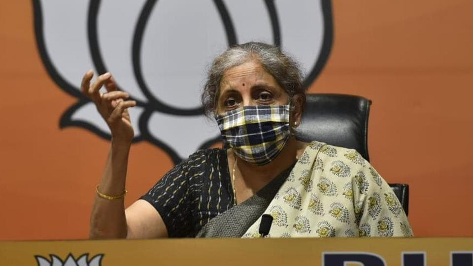 Union finance minister Nirmala Sitharaman addresses press conference at BJP HQ  in New Delhi on Saturday.