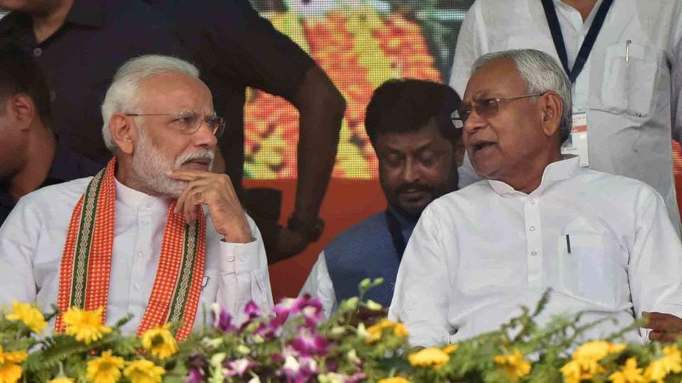 Prime Minister Narendra Modi and Bihar Chief Minister Nitish Kumar during an election rally