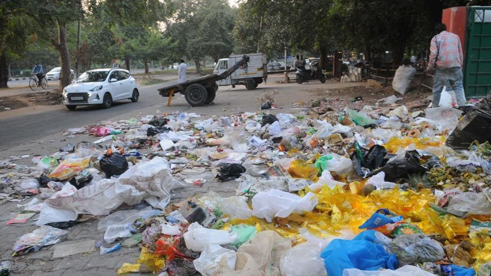 Garbage strewn on the roadside near the Sector-22 market as sanitation workers go on strike in Chandigarh on Saturday.