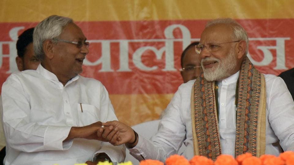Prime Minister Narendra Modi and Bihar chief minister Nitish Kumar are seen during an election campaign rally in this file photo.