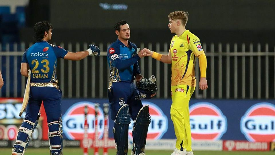 Sharjah: Mumbai Indians (MI) batsmen Quinton de Kock and Ishan Kishan after winning the match against Chennai Super Kings during the Indian Premier League (IPL) T20 cricket match, at Sharjah Cricket Stadium in Sharjah.