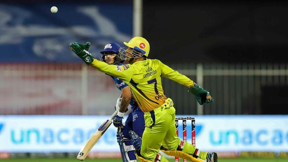 Chennai Super Kings captain MS Dhoni reacts during the Indian Premier League (IPL) T20 cricket match against Mumbai Indians, at Sharjah Cricket Stadium in Sharjah.